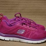 Яркие легкие кроссовки цвета фуксии Skechers skech-knit flex sole сша 36 р.