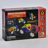 Конструктор магнитный, 16 деталей, в коробке Magic трехмерных кубов, автомобилей, ракет, самолетов.