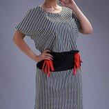Платье повседневное XL стрейч коттон полоска