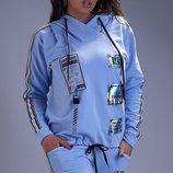 Спортивный костюм XL трехнитка голубой