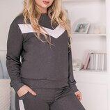 Спортивный повседневный костюм ткань двунитка с напылением большие размеры скл.1 арт.51298