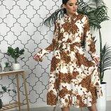 Платье миди креп шифон две расцветки