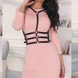 Шикарное трикотажное платье с портупеей в комплекте весенние цвета скл.1 арт.51321