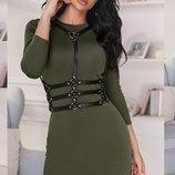 Шикарное трикотажное платье с портупеей в комплекте весенние цвета скл.1 арт.51317