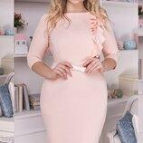 Шикарное нарядное платье ткань креп-дайвинг яркие весенние цвета большие размеры скл.1 арт.51312