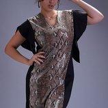 Шикарное нарядное трикотажное платье с пайетками и животным принтом большие размеры скл.1 арт.51281