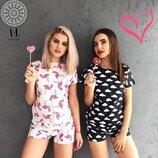 Новинка Хлопковые пижамы двойка футболка и шорты 14 видов принта от р40 по р46
