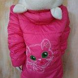 Демисезонная Яркая куртка на девочку весна осень 4-6 лет Ушки Котик