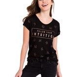 Черная женская футболка Lc Waikiki / Лс Вайкики с надписью Follow your intuition