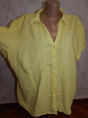 блузка льняная стильная модная р24 большой размер