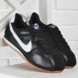 Кроссовки детские кожаные Nike Cortez черные с белым