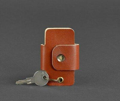 Чехол для ключей кожаный ключница коньяк