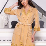 Шикарный женский короткий халат велюр-бамбук 185 Шанель .