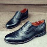 Новинка. Топ качество. Мужские кожаные туфли броги Сhak черного цвета