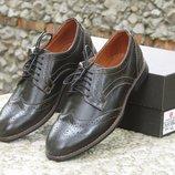 Новинка. Топ качество. Мужские кожаные туфли броги коричневого цвета арт 082