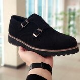 Новинка. Топ качество. Мужские кожаные туфли броги Monki монки черного цвета замша