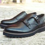 Новинка. Топ качество. Мужские кожаные туфли броги Monki монки черного цвета кожа