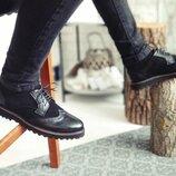 Новинка. Топ качество. Мужские кожаные туфли броги Onyx черного цвета замша-кожа