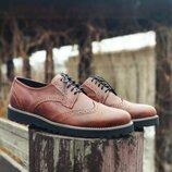 Новинка. Топ качество. Мужские кожаные туфли броги Onyx коричневого цвета кожа