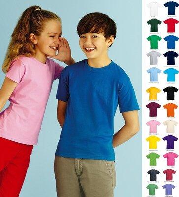 Детская футболка 100% Хлопок Классическая Fruit of the loom 1-15 лет однотонные