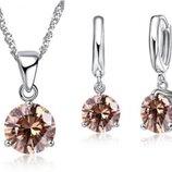 Шикарный комплект украшений серебро 925 пробы сережки и подвеска с камнями цвет шампань
