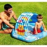 Детский надувной бассейн Intex 58415 Винни Пух с навесом, надувное дно, 109 х 102 х 71 см