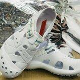 Белые Легкие и мягенькие кроксы кроссовки на липучке полномер 37 р-р
