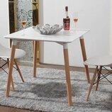 белый квадратный кухонный деревянный стол Нури белый черный 80х80 см