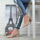 Туфли женские лодочки бежевые на широком каблуке Italian style