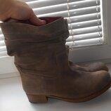 замшевые деми сапоги полусапожки ботинки на полную ножку 41 размер,стелька 26,3 см