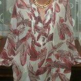 Шикарная Очень красивая брендовая блуза шифон р.16