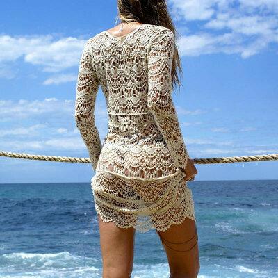 Ажурная туника с рукавом пляжный сарафан платье солнцезащитная одежда
