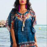Стиль бохо синяя пляжная туника из батиста с вышивкой