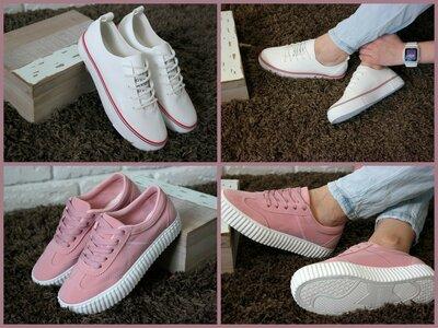 Продано: Женские кеды кроссовки белые розовые весенние летние, отличное качество