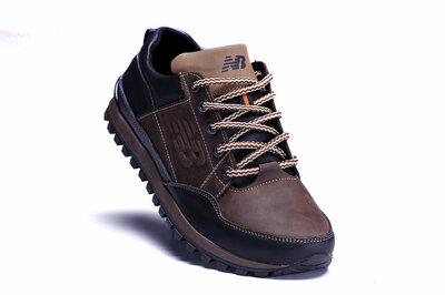 Мужские кожаные кроссовки коричневые