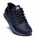 Мужские кожаные кроссовки New Balance синие