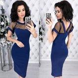 Вечернее женское платье Мишель из костюмной ткани с эластичной прозрачной сеткой арт.892 скл.10