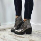 Ботинки серебро из натуральной кожи замши