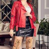 Куртка косуха весна осень экокожа красный черный