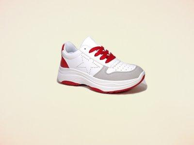 Кроссовки женские, белые с красным, на платформе, для бега. Размер 35-39.
