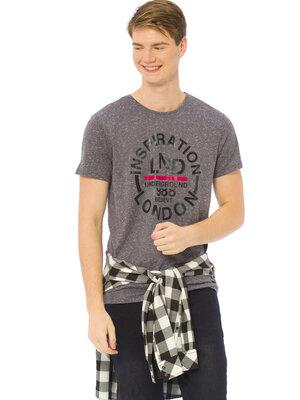 Мужская футболка серая LC Waikiki / Лс Вайкики с надписью Inspiration London