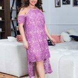 Стильное кружевное платье батал, Размеры 50-54. 56-58.