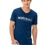 Мужская футболка синяя Lc Waikiki / Лс Вайкики с надписью Inconceivable