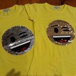 Супер стильная футболка пайетки-перевертыш, девочка. Разные модели. Турция.
