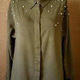 Свободная блузка ZARA оверсайз с жемчугом и бусинками размер 8-10