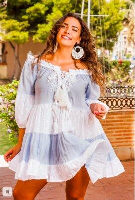 Бело-Голубая туника-платье из хлопка в стиле бохо Indiano
