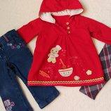 Комплект набор платье туника, джинсы и лосины на 6-12 мес