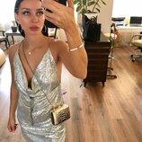 Платье шиммер серебро металлик уникорн , паетки