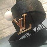 Ремень кожаный чорный в стиле Louis Vuitton, Луи Виттон, унисекс