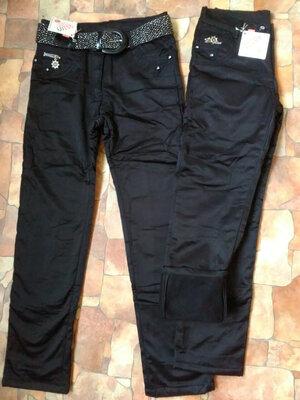Утепленные Брюки джинсы на флисе на девочку зима 7,8,9,10,11,12,13 лет